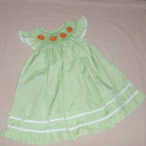 Pumpkins Smocked Embroidered Baby Dress Fall Sz 9m